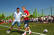 Swiss soccer player Xherdan SHAQIRI of FC Bayern Muenchen and his brother and consultant Erdin are pictured during a training session for kids at the Coca-Cola Junior League tournament in Zurich, Switzerland, Saturday, June 16, 2012. (Photo by Patrick B. Kraemer / MAGICPBK)