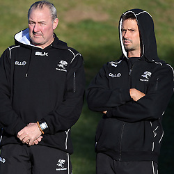 TOULON, FRANCE - FEBRUARY 02: Gary Gold (Sharks Director of Rugby) with DR Alan Kourie during the Cell C Sharks training sessionon February 02, 2015 in Toulon, France. (Photo by Steve Haag)
