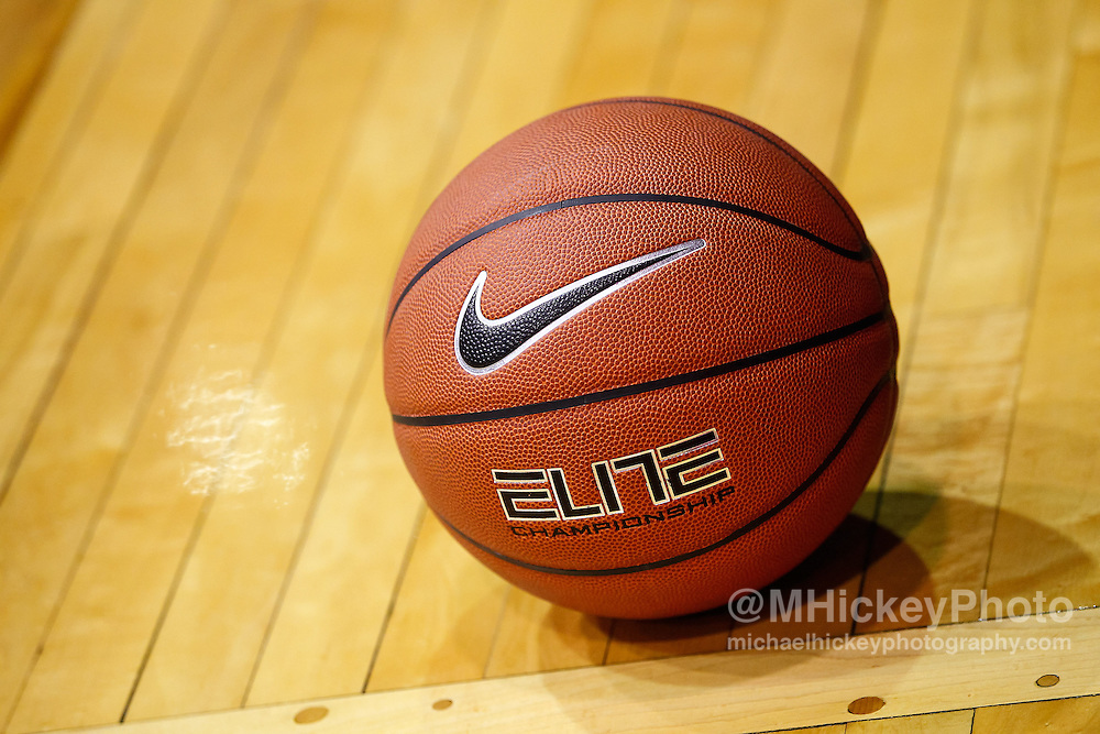 INDIANAPOLIS, IN - JANUARY 19: A Nike basketball seen on the court before the start of the Butler Bulldogs and Gonzaga Bulldogs game at Hinkle Fieldhouse on January 19, 2013 in Indianapolis, Indiana. Butler defeated Gonzaga 64-63. (Photo by Michael Hickey/Getty Images)