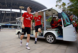 NANNING, CHINA - Sunday, March 25, 2018: Wales' Harry Wilson and Billy Bodin arrive for a training session at the Guangxi Sports Centre ahead of the 2018 Gree China Cup International Football Championship final match against Uruguay. (Pic by David Rawcliffe/Propaganda)
