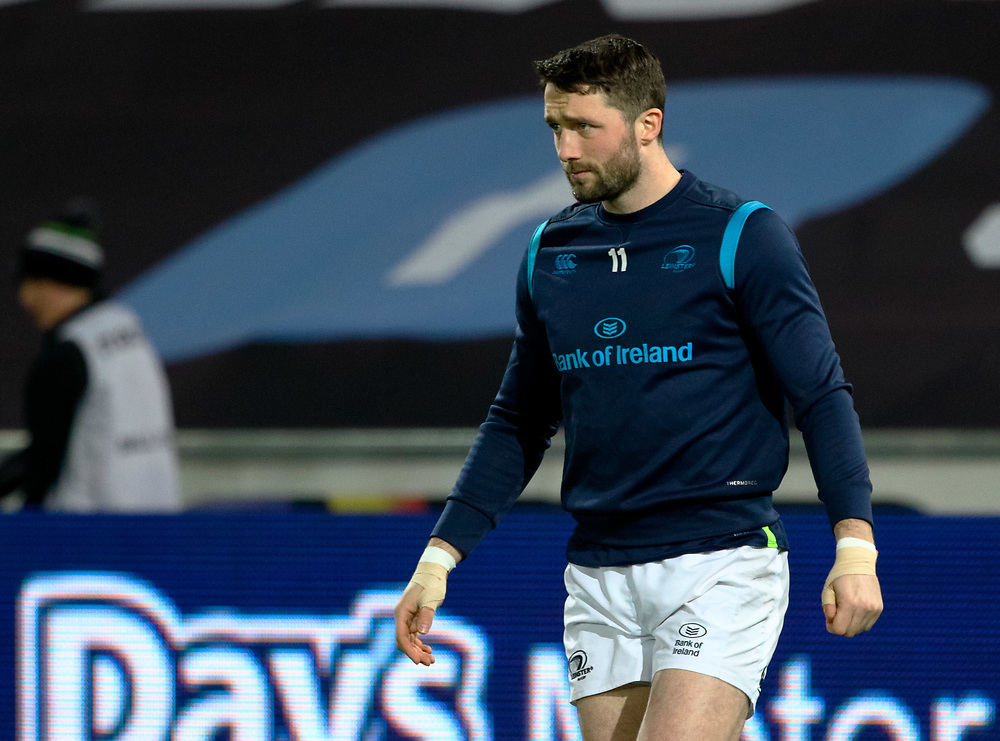 Leinster's Barry Daly during the pre match warm up<br /> <br /> Photographer Simon King/Replay Images<br /> <br /> Guinness PRO14 Round 19 - Ospreys v Leinster - Saturday 24th March 2018 - Liberty Stadium - Swansea<br /> <br /> World Copyright © Replay Images . All rights reserved. info@replayimages.co.uk - http://replayimages.co.uk