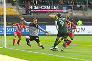 Jimmy Spencer (9) of Plymouth Argyle is unable to score from the 6 yard box as Marek Rodak (12) of Accrington Stanley makes himself big during the EFL Sky Bet League 2 match between Plymouth Argyle and Accrington Stanley at Home Park, Plymouth, England on 1 April 2017. Photo by Graham Hunt.