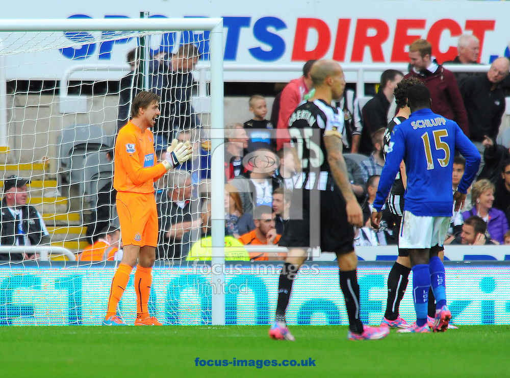 Newcastle United goalkeeper Tim Krul (left) during the Barclays Premier League match at St. James's Park, Newcastle<br /> Picture by Greg Kwasnik/Focus Images Ltd +44 7902 021456<br /> 18/10/2014
