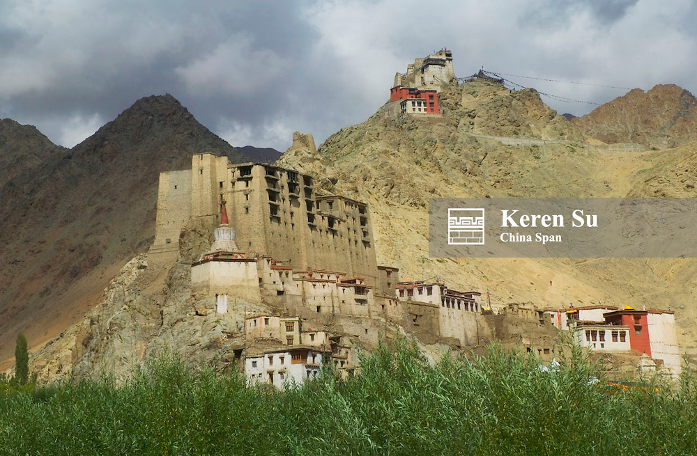 Leh Palace and Namgyal Tsemo Gompa up on the hill, Leh, Ladakh, India