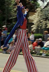 Americana stilt walking uncle sam reenactor