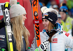 06.12.2015, East Summit Course, Lake Luise, CAN, FIS Weltcup Ski Alpin, Lake Luise, Damen, SuperG, im Bild Lindsey Vonn (USA, 1. Platz), Cornelia Huetter (AUT, 3. Platz) // winner Lindsey Vonn of the USA ( L ), 3rd placed Cornelia Huetter of Austria ( R ) during the race of ladies Super G of the Lake Luise FIS Ski Alpine World Cup at the East Summit Course in Lake Luise, Canada on 2015/12/06. EXPA Pictures © 2015, PhotoCredit: EXPA/ SM<br /> <br /> *****ATTENTION - OUT of GER*****