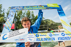 Second placed Thomas Koechlin fo Switzerland celebrates after competing in Final of Canoe C1 Men Single during Day 4 of 2017 ECA Canoe Slalom European Championships, on June 4, 2017 in Tacen, Ljubljana, Slovenia. Photo by Vid Ponikvar / Sportida