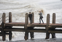 © Licensed to London News Pictures. 21/09/2018. Aberystwyth, UK. The gale force winds of Storm Bronagh, the second named storm of the UK winter , increase in intensity, with gusts of over 50mph  in by mid-morning in Aberystwyth .Photo credit: Keith Morris/LNP