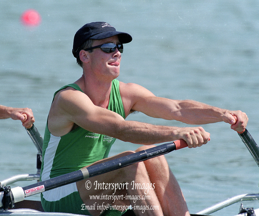 St Catherines, CANADA,  Men's Lightweight Quadruple Sculls.   IRL LM4X. Neal BYRNE , James LINDSAY-FYNN , Noel MONAHAN , Gearoid TOWEY 1999 World Rowing Championships - Martindale Pond, Ontario. 08.1999..[Mandatory Credit; Peter Spurrier/Intersport-images]   ... 1999 FISA. World Rowing Championships, St Catherines, CANADA