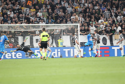 April 22, 2018 - Torino, Piemonte, Italy - in the picture the goal of Koulibaly of Napoli against Juventus buffon that allows the Napoli to win in Turin and shoot for the championship.22 April 2018 - Turin, Italy - final match between F.C. Juneventu and SSC Napoli, at the Allianz Stadium in Turin, which is awarded the Scudetto in Serie A in Italy..Napoli wins 1-0. (Credit Image: © Fabio Sasso/Pacific Press via ZUMA Wire)
