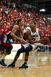Jan 21, 2012; Santa Clara CA, USA; Santa Clara Broncos guard Brandon Clark (3) is defended by St. Mary's Gaels guard Jorden Page (1) during the first half at the Leavey Center.  St. Mary's defeated Santa Clara 93-77. Mandatory Credit: Jason O. Watson-US PRESSWIRE