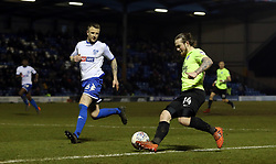 Jack Marriott of Peterborough United takes on Peter Clarke of Bury - Mandatory by-line: Joe Dent/JMP - 13/03/2018 - FOOTBALL - Gigg Lane - Bury, England - Bury v Peterborough United - Sky Bet League One