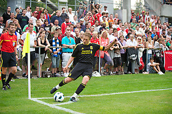 ZUG, SWITZERLAND - Wednesday, July 21, 2010: Liverpool's captain Lucas Leiva takes a corner against Grasshopper Club Zurich during the Reds' first preseason match of the 2010/2011 season at the Herti Stadium. (Pic by David Rawcliffe/Propaganda)