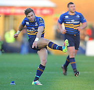 Ian Madigan ( L ) of Leinster kicks a penalty during the European Rugby Champions Cup match at Twickenham Stoop , London<br /> Picture by Paul Terry/Focus Images Ltd +44 7545 642257<br /> 07/12/2014