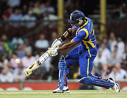 © Licensed to London News Pictures. 17/02/2012. Sydney Cricket Ground, Australia. Kumar Sangakkara plays a lofted drive during the One Day International cricket match between Australia Vs Sri Lanka. Photo credit : Asanka Brendon Ratnayake/LNP