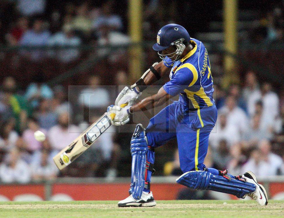 © Licensed to London News Pictures. 17/02/2012. Sydney Cricket Ground, Australia. Kumar Sangakkara plays a lofted drive during the One Day International cricket match between Australia Vs Sri Lanka. Photo credit : Asanka Brendon Ratnayake/LNP