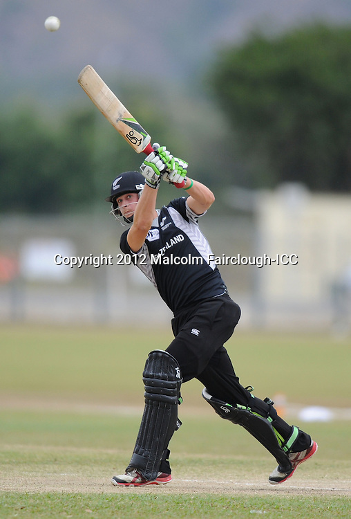 TOWNSVILLE, AUSTRALIA - AUGUST 20:  Robbie O'Donnell of New Zealand hits out during the ICC U19 Cricket World Cup 2012 Quarter Final match between New Zealand and the West Indies at Endeavour Park on August 20, 2012 in Townsville, Australia.  (Photo by Malcolm Fairclough-ICC/Getty Images)