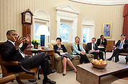 05.JUNE.2012. WASHINGTON D.C.<br /> <br /> PRESIDENT BARACK OBAMA MEETS WITH SENIOR ADVISORS IN THE OVAL OFFICE, JUNE 5, 2012.<br /> <br /> BYLINE: EDBIMAGEARCHIVE.CO.UK<br /> <br /> *THIS IMAGE IS STRICTLY FOR UK NEWSPAPERS AND MAGAZINES ONLY*<br /> *FOR WORLD WIDE SALES AND WEB USE PLEASE CONTACT EDBIMAGEARCHIVE - 0208 954 5968*