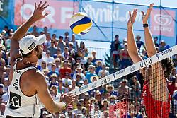 Marcio Araujo of Brazil vs Matt Fuerbringer of USA at A1 Beach Volleyball Grand Slam tournament of Swatch FIVB World Tour 2010, semifinal, on August 1, 2010 in Klagenfurt, Austria. (Photo by Matic Klansek Velej / Sportida)