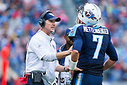 NASHVILLE, TN - OCTOBER 25:  Head Coach Ken Whisenhunt talks with Zach Mettenberger #7 of the Tennessee Titans on the sidelines during a game against the Atlanta Falcons at Nissan Stadium on October 25, 2015 in Nashville, Tennessee.  The Falcons defeated the Titans 10-7.  (Photo by Wesley Hitt/Getty Images) *** Local Caption *** Ken Whisenhunt; Zach Mettenberger