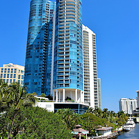 Las Olas River House in Fort Lauderdale, Florida <br /> At 452 feet, the Las Olas River House twin towers became the tallest buildings in Fort Lauderdale when the condominium opened along New River in 2004.  But it might lose that distinction in 2017 when the Icon Las Olas is completed.  Although this new high-rise will also have 42 floors, it is planned to be three feet taller.