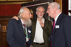 © Licensed to London News Pictures. 18/07/2017. LONDON, UK.  JEREMY CORBYN,  GEORGE MONTAGUE, the oldest living British man to have been imprisoned for his homosexuality and Lord Smith of Finsbury speaking at a Pink News parliamentary reception to celebrate the 50th anniversary of decriminalisation on homosexuality, held at Speaker's House in the Palace of Westminster in London.  Photo credit: Vickie Flores/LNP