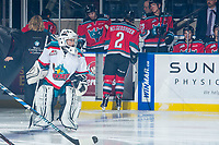 KELOWNA, CANADA - NOVEMBER 25: The pepsi player of the game skates with the Kelowna Rockets against the Medicine Hat Tigers on November 25, 2017 at Prospera Place in Kelowna, British Columbia, Canada.  (Photo by Marissa Baecker/Shoot the Breeze)  *** Local Caption ***
