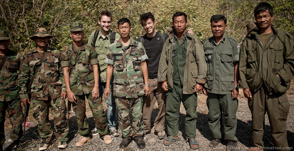 With writer Christopher Shay, Thai border police and Khmer border police.