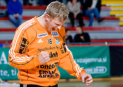 Goalkeeper of Ystads Aleksander Nilsson during the 1/ 8 Men's European Handball Challenge Cup match between RD Slovan, Slovenia and Ystads IF, Sweden, on February 21, 2009 in Arena Kodeljevo, Ljubljana, Slovenia. Slovan defeated Ystads 37-27 and qualified to quarterfinals. (Photo by Vid Ponikvar / Sportida)