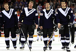 Team Latvia (Arvids Rekis, Aleksandrs Jerofejevs, Herberts Vasiljevs and Krisjanis Redlihs) at ice-hockey match Canada vs Latvia (with replika jerseys from year 1936) at Preliminary Round (group B) of IIHF WC 2008 in Halifax, on May 04, 2008 in Metro Center, Halifax, Nova Scotia, Canada. (Photo by Vid Ponikvar / Sportal Images)