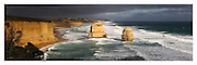 limestone stacks and approaching storm looking East from 12 Apostles viewing platform