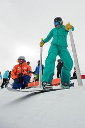 MENTEL-SPEE Bibian, banked slalom training, 2015 IPC Snowboarding World Championships, La Molina, Spain