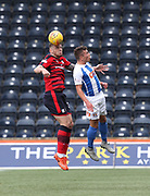 23rd September 2017, Rugby Park, Kilmarnock, Scotland; SPFL Premiership football, Kilmarnock versus Dundee; Dundee's Kerr Waddell beats Kilmarnock's Adam Frizzell in the air