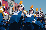 Members of the Jefferson marching band perform during the Memorial Weekend Grand Parade in Mackinaw City, Michigan.