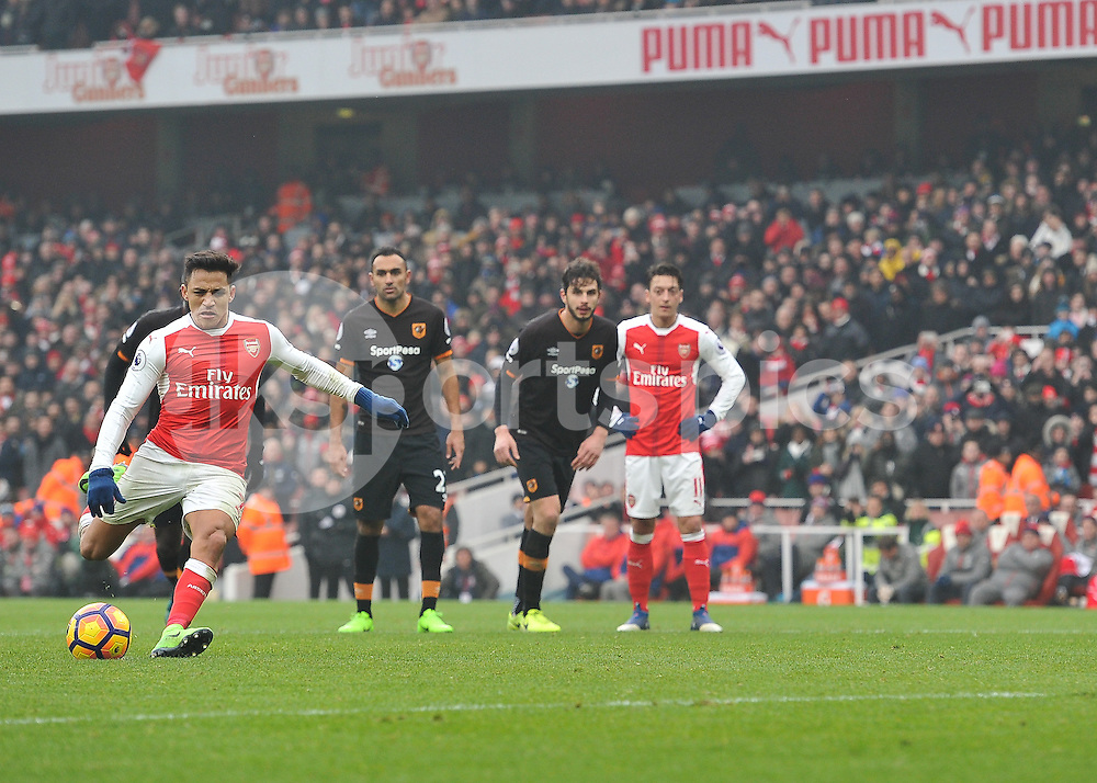 Alexis Sánchez of Arsenal scores form the penalty spot during the Premier League match between Arsenal and Hull City at the Emirates Stadium, London, England on 11 February 2017. Photo by Vince  Mignott.