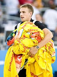 Matjaz Vezjak with towels after the EuroBasket 2009 Group F match between Slovenia and Poland, on September 14, 2009 in Arena Lodz, Hala Sportowa, Lodz, Poland.  (Photo by Vid Ponikvar / Sportida)