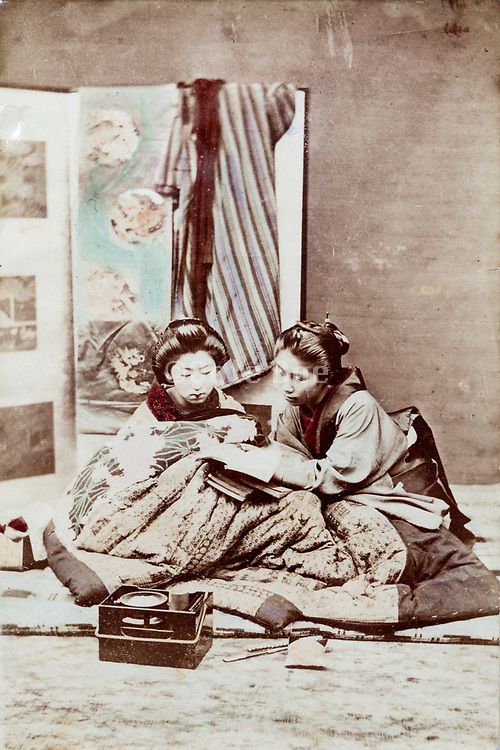 hand colored Geisha scene ca 1880s Japan