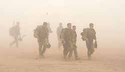 © licensed to London News Pictures. LOCATION, UK  17/04/11. New arrivals to Camp Bastion, including troops from 42 Commando of the Royal Marines take part in a training exercise during a sand storm today (16 Apr 11). Please see special instructions for usage rates. Photo credit should read Sergeant Alison Baskerville RLC/LNP
