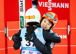 Sara Takanashi of Japan and Yuki Ito of Japan celebrate during 2nd Round at Day 1 of World Cup Ski Jumping Ladies Ljubno 2019, on February 8, 2019 in Ljubno ob Savinji, Slovenia. Photo by Matic Ritonja / Sportida