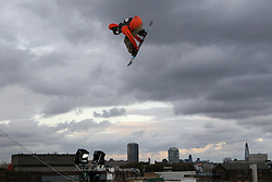 © Licensed to London News Pictures. 29/10/2011, London, UK.  Norway's Torgeir Bergrem jumps during the final of FIS Snowboard World Cup Bir Air competition at the Freeze Snowboard and Ski Festival at Battersea Power Station in London, Saturday, Oct. 29, 2011. Photo credit : Sang Tan/LNP