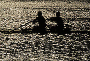 Oklahoma, USA,   Sat night, International racing at the US  World Rowing Challenge, held on The Oklahoma River, Oklahoma City,  Sat 12.10.2007  [Silhouettes] [Mandatory Credit. Peter Spurrier/Intersport Images].... , Rowing Course: Oklahoma River, Oklahoma City, Oklahoma, USA , Sunrise, Sunsets, Silhouettes