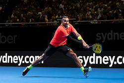 January 7, 2019 - Sydney, NSW, U.S. - SYDNEY, AUSTRALIA - JANUARY 07: Nick Kyrgios (AUS) hits a backhand at The Sydney FAST4 Tennis Showdown on January 07, 2018, at Qudos Bank Arena in Homebush, Australia. (Photo by Speed Media/Icon Sportswire) (Credit Image: © Steven Markham/Icon SMI via ZUMA Press)
