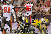 Tampa Bay Buccaneers wide receiver Kevin Ogletree (85) celebrates scoring during the Bucs game against the New Orleans Saints at Raymond James Stadium on Sept. 15, 2013 in Tampa, Florida. <br /> &copy;2013 Scott A. Miller