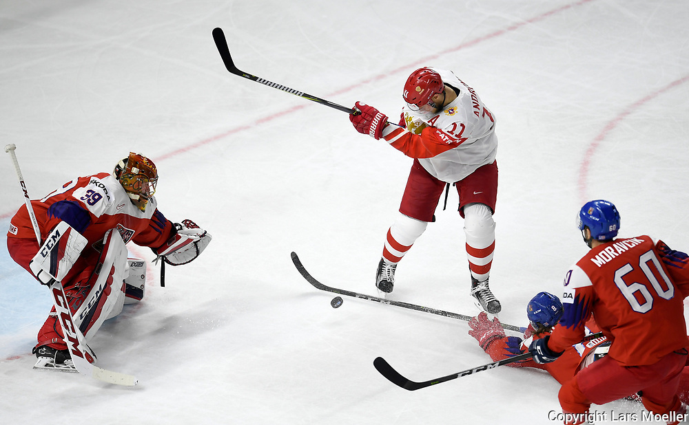 DK caption:<br /> 20180510, K&oslash;benhavn, Danmark.<br /> IIHF Verdensmesterskabet i Ishockey. <br /> Gruppe A: Tjekkiet-Rusland. David Rittich of Chech Republic in action against Nikita Zaitsev of Russia<br /> Foto: Lars M&oslash;ller<br /> UK Caption:<br /> 20180510, Copenhagen, Denmark.<br /> IIHF Ice Hockey World Championship. <br /> Group A: Chech Republic-Russia. David Rittich of Chech Republic in action against Nikita Zaitsev of Russia<br /> Photo: Lars Moeller