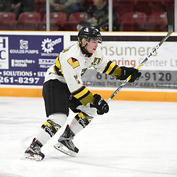 "TRENTON, ON  - MAY 2,  2017: Canadian Junior Hockey League, Central Canadian Jr. ""A"" Championship. The Dudley Hewitt Cup. Game 2 between Powassan Voodoos and the Trenton Golden Hawks. Parker Bowman #17 of the Powassan Voodoos pursues the play during the first period.<br /> (Photo by Andy Corneau / OJHL Images)"
