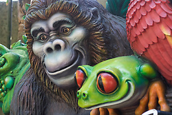 Figures of an ape and tree frog are seen at Walt Disney's Animal Kingdom.