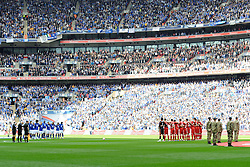 Both sides respect a minute's silence for the 96 victims of the Hillsborough disaster before the kick off the Budweiser FA Cup semi final match between Liverpool and Everton at Wembley on Saturday 14 April 2012 (Photo by Rob Munro)