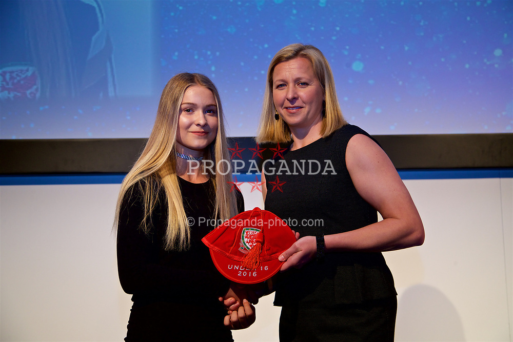 NEWPORT, WALES - Saturday, May 27, 2017: Gemma Prosser receives her Under-16 Wales cap from Wales women's team manager Jayne Ludlow at the Celtic Manor Resort. (Pic by David Rawcliffe/Propaganda)