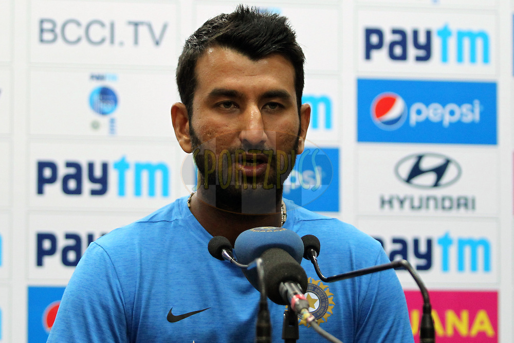 Cheteshwar Pujara of India addressing the media during day 2 of the third test match between India and England held at the Punjab Cricket Association IS Bindra Stadium, Mohali on the 27th November 2016.Photo by: Prashant Bhoot/ BCCI/ SPORTZPICS