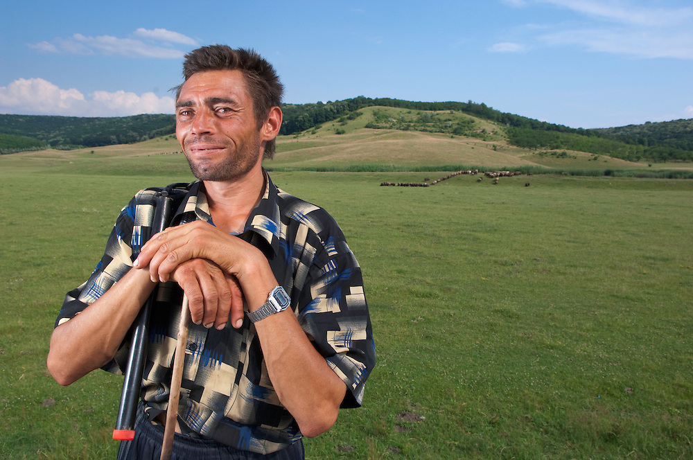 Portrait of local shepherd in Balti region, central Moldova